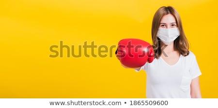 mulher · luvas · de · boxe · pronto · trabalhar · atravessar · caixa - foto stock © photography33