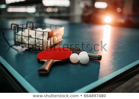 пинг-понг оранжевый ракетка желтый мяча чистой Сток-фото © Koufax73
