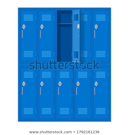 öltözőszekrény ajtók kék iskola egyetem zárolt Stock fotó © filmstroem