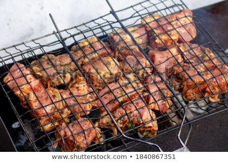 raw kebabs on the grate for grilling Stock photo © RuslanOmega