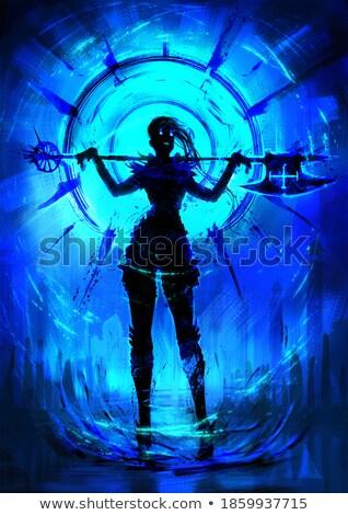 Diabeł posiedzenia brudne strony tancerz dziewczyna Zdjęcia stock © dolgachov