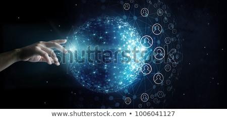 zakenman · social · media · knop · kaart · futuristische - stockfoto © redpixel