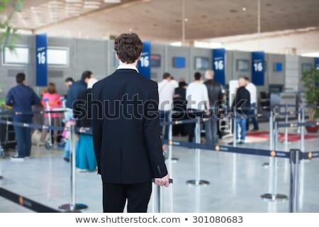cola · negocios · ventana · seguridad · viaje · aeropuerto - foto stock © feedough