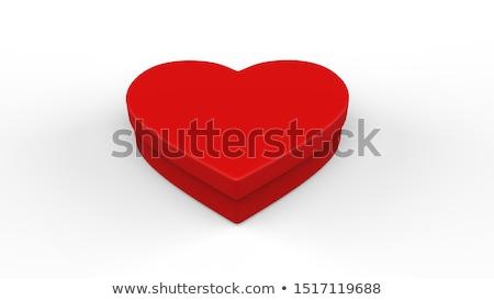 Kırmızı kutu kalp şekli beyaz mutlu doğum günü Stok fotoğraf © stoonn