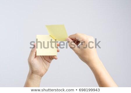 żółty Uwaga kobieta odizolowany biały Zdjęcia stock © winterling