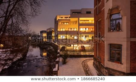 Nacht winters huis sneeuw reizen lamp Stockfoto © val_th