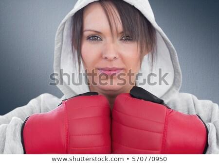 Kobiet bokser patrząc kamery biały sportu Zdjęcia stock © wavebreak_media