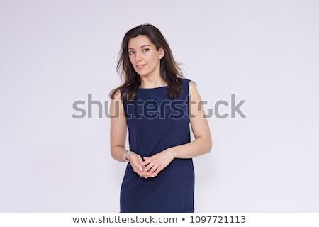 feliz · mujer · de · negocios · sonriendo · aislado · blanco · oficina - foto stock © Nobilior