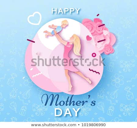 Retro Mom holding Flowers for Mother's day Stock photo © lordalea