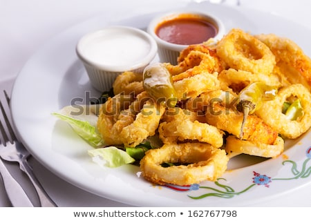 tintahal · gyűrűk · saláta · étel · citrom · citrus - stock fotó © m-studio