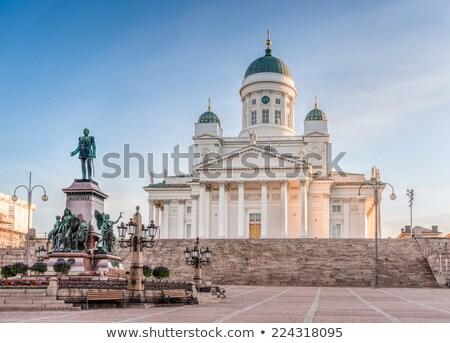 Helsinki katedral Finlandiya görmek alan çiçekler Stok fotoğraf © kyolshin