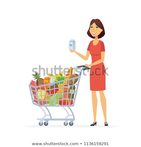 Bastante mulher jovem compras diariamente produtos mercearia Foto stock © HASLOO