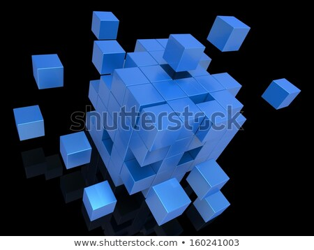 Exploding Blocks Showing Scattered Puzzle Stock photo © stuartmiles