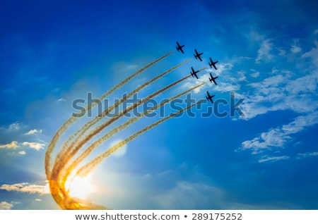 Equipo fondo humo avión anillo volar Foto stock © Nneirda