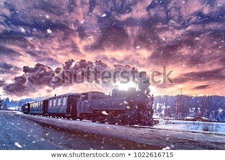 öreg vonat retro klasszikus éjszaka ipari Stock fotó © vichie81