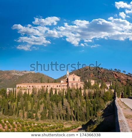 Kolostor Valencia természet fák hegy kék Stock fotó © lunamarina