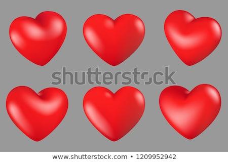 3D · kırmızı · kalpler · vektör · mutlu · soyut - stok fotoğraf © burakowski