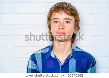 ocio · fresco · inteligentes · nino · azul · camiseta - foto stock © meinzahn