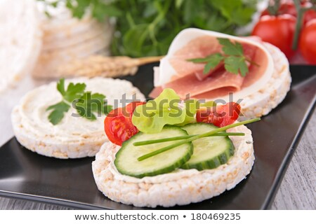 canape with rice cake and cucumber Stock photo © M-studio