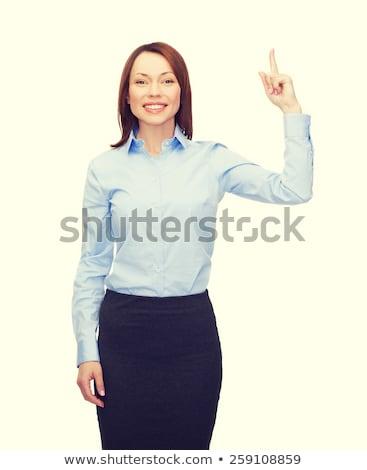 Foto stock: Sorridente · empresária · dedo · para · cima · negócio · educação