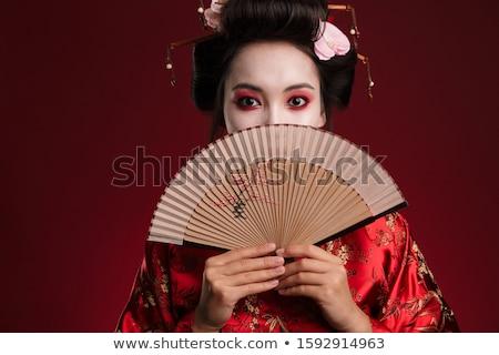 Portré gyönyörű gésa ventillátor tavasz fiatal Stock fotó © Nejron
