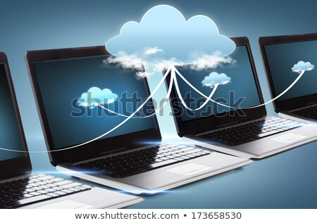 laptop · nuvem · servidor · nota · céu · rede - foto stock © designers