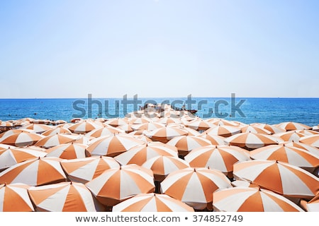 Stock photo: Beach with parasol and sun