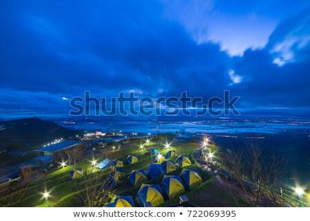 montagnes · vue · brouillard · matin · baignoire · ciel - photo stock © frameangel
