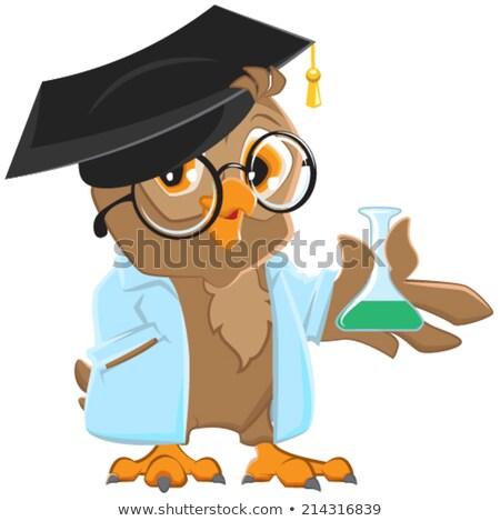 Eule Lehrer blau robe halten Kolben Stock foto © orensila