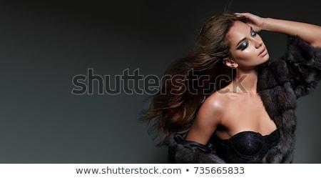 Mooie jonge vrouw zwart wit korset patroon Stockfoto © Elisanth