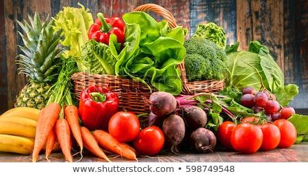 friss · zöldségek · kosár · izolált · fehér · bio · zöldség - stock fotó © m-studio