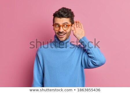 Portré fiatal lezser férfi párbeszéd arc Stock fotó © deandrobot