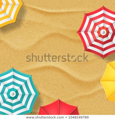 傘 ビーチ 文字 砂 椅子 傘 ストックフォト © compuinfoto