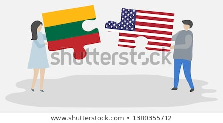 EUA Lituânia bandeiras quebra-cabeça vetor imagem Foto stock © Istanbul2009
