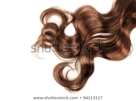 женщину · долго · вьющиеся · волосы · черно · белые · рук · моде - Сток-фото © m_pavlov