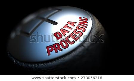 Gear Stick with Red Text Data Processing. Stock photo © tashatuvango