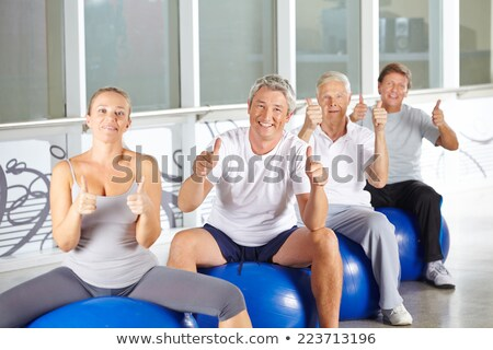 Kıdemli kadın egzersiz top beyaz Stok fotoğraf © wavebreak_media
