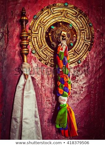 Budist manastır kapı detay Nepal kırmızı Stok fotoğraf © dutourdumonde