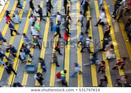 Stockfoto: Blurred People Moving At Crowded Street Hong Kong