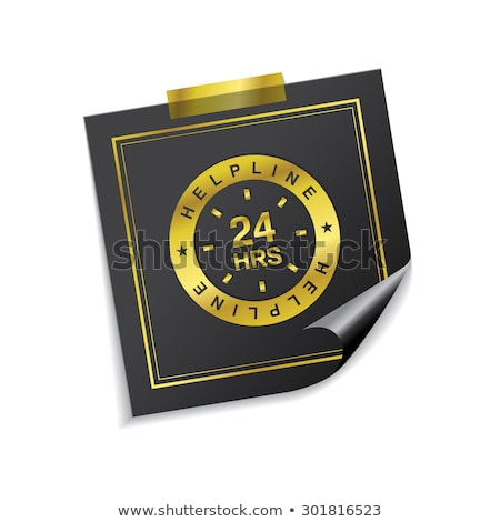 24 Hours Helpline Support Golden Sticky Notes Vector Icon Stock photo © rizwanali3d