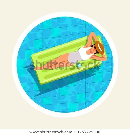 Jong meisje lucht matras zwembad vrouw Stockfoto © deandrobot