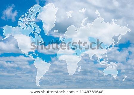 felhős · világtérkép · alakú · felhők · égbolt · földgömb - stock fotó © ongap