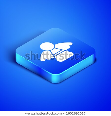 Blue Square Shaped Christmas Card with Ornaments and Angels stock photo © cajoer