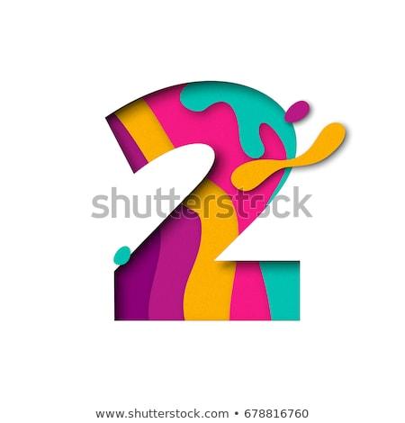 2 Number Violet Vector Icon Design Stock photo © rizwanali3d