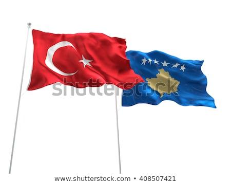 Türkiye Kosova bayraklar bilmece yalıtılmış beyaz Stok fotoğraf © Istanbul2009
