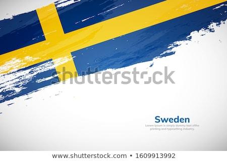 Suède pays pavillon carte forme texte Photo stock © tony4urban