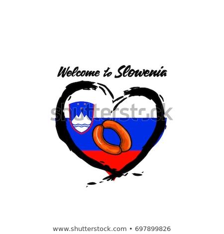 Eslovenia país bandeira mapa forma texto Foto stock © tony4urban
