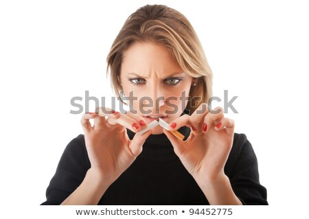 довольно блондинка сигарету белый смерти женщины Сток-фото © wavebreak_media