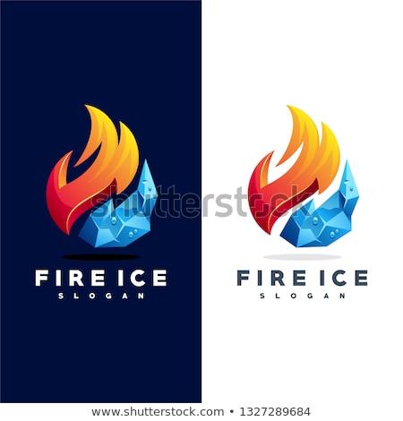 Fuego hielo vidrio whisky rocas beber Foto stock © alex_l