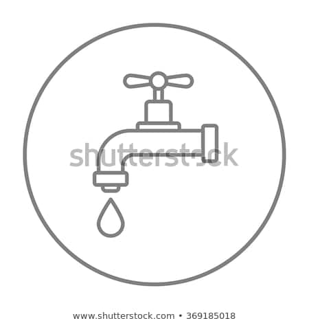 dripping tap with drop line icon stock photo © rastudio